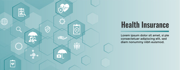 Health insurance Web Banner -- Umbrella icon set with medical icons