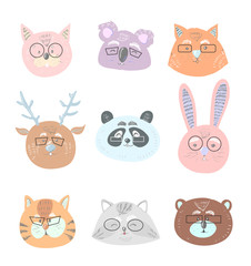 Funny cute animals in glasses face illustration collection vector set in scandinavian childish style. Cute illustration for card, print on clothes, nursery