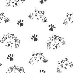 Line art graphic lion and tiger head seamless pattern, cute animals fashion print, wrapping paper design
