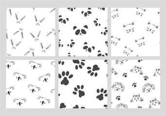 Line art graphic black and white animals head seamless pattern collection on white, cute bunny fashion print, wrapping paper design