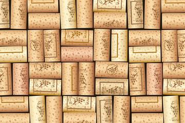 Wine bottle cork. Wooden tap. Pattern for background. Design