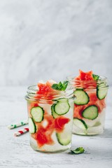 Infused detox water with watermelon, cucumber slices and mint. Ice cold summer cocktail or lemonade