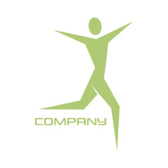 Abstract woman and fitness logo