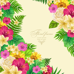 Vector botanical frame  with tropical leaves and flowers.  Design for invitation card, wedding.