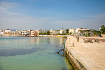 Port with cityview of Torre Canne, Fasano in Italy