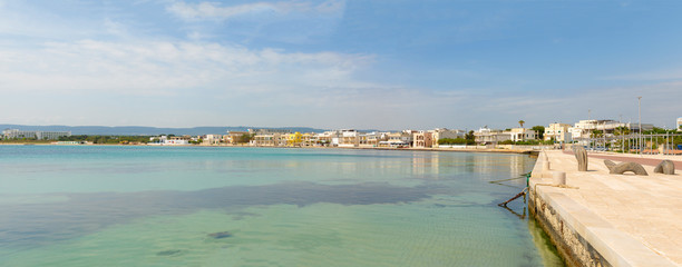 Panorama of port with cityview of Torre Canne, Fasano in Italy