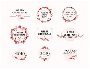 Vector Christmas congratulation arrangements with text & watercolor elements - hand drawn holly berry branches and wreath - isolated on white background. Package design, cards, posters, labels etc.
