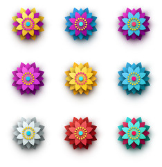 Bright colorful 3d flowers isolated on white.