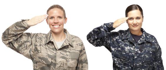 Female airman and sailor saluting