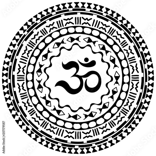 Circular Pattern In Form Of Mandala With Symbol Mantra Om