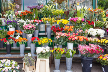 Outdoor flower market with roses, peonies and lilies in Vienna, Austria