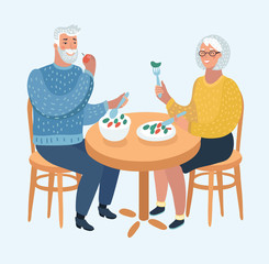 Elderly Couple Eating at a Fine Dining Restaurant
