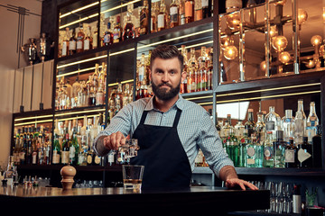 Stylish brutal barman in a shirt and apron makes a cocktail at bar counter background. Wall mural
