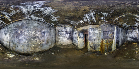 full seamless panorama 360 by 180 angle view inside ruined abandoned military underground casemates fortress of the First World War in equirectangular spherical projection, skybox horror VR content