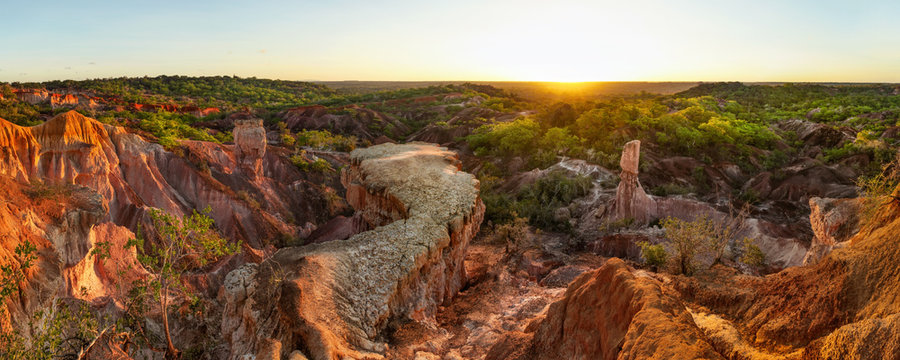 High resolution wide panorama of Marafa Depression (Hell's Kitchen sandstone canyon) in afternoon sunset light. Malindi, Kenya.