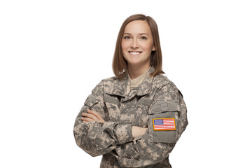 Female Army Soldier With Arms Crossed