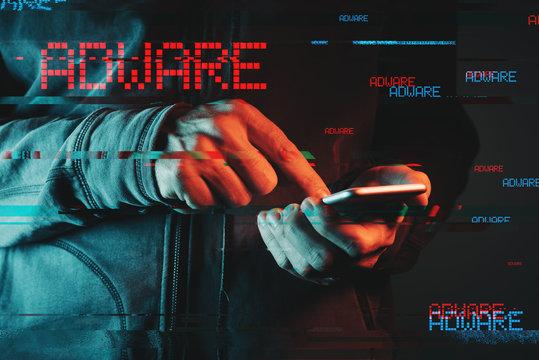 Mobile phone adware concept