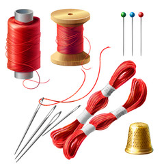 Vector 3d realistic tailor set. Wooden reel with threads, needles and pins for dressmaking, needlework. Sewing atelier collection. Metal thimble and coil of strands for handmade, hobby