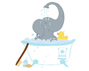 Hand drawn vector illustration with a cute baby elephant in bath shower celebrating new birth - isolated on white background