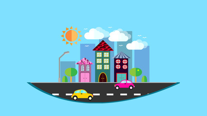 A city, a small city hanging in the air in a flat style with houses with a sloping tile roof, cars, trees, birds, clouds, sun, road, lantern in the afternoon on a blue background. illustration