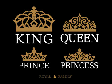 King,Queen, Prince and Princess - set of couple family design. White text and gold crown isolated on black background. For printable souvenir: t-shirt, pillow, mug, cup. Royal silhouette vector tiara