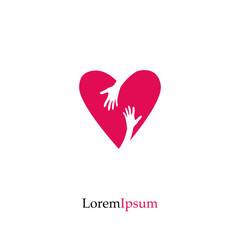Red heart and hand. Love, Hope, Care Logo, Vector Illustration