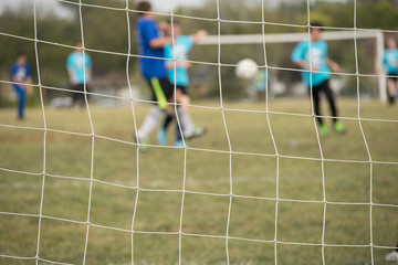 Soccer net with soccer game in background
