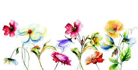 Template for greeting card with colorful wild flowers