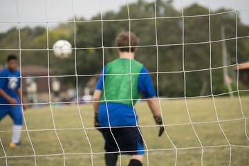 Goalie ready to stop a goal