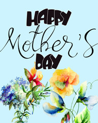 Title Happy Mothers day with Decorative summer flowers