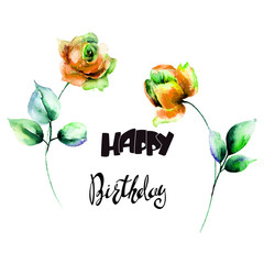 Red Roses flowers with title Happy Birthday