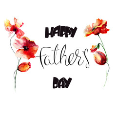 Poppy and Tulips flowers with title Happy Fathers day