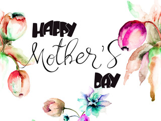 Stylized flowers with title Happy Mothers day