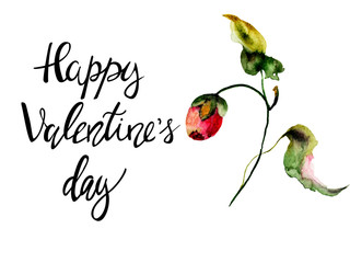 Original watercolor illustration with flowers with title Happy Valentines day
