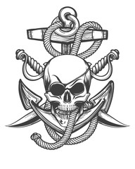 Pirate Skull with Anchor and Sabres