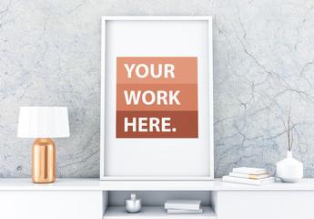 White Framed Poster Mockup