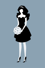 Elegant young woman in a black dress holding a bouquet on gray background. Vector