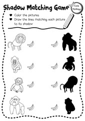 Shadow matching game of primate monkey animals for preschool kids activity worksheet layout in A4 coloring printable version. Vector Illustration.