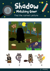 Shadow matching game by finding the correct picture of Standing Beaver holding a log animals for preschool kids activity worksheet colorful printable version layout in A4 vector illustration.