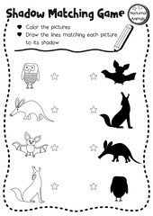 Shadow matching game of nocturnal animals for preschool kids activity worksheet layout in A4 coloring printable version. Vector Illustration.