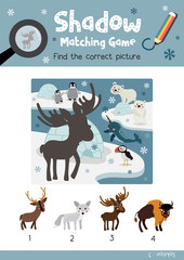 Shadow matching game by finding the correct picture of Standing Moose animals for preschool kids activity worksheet colorful printable version layout in A4 vector illustration.