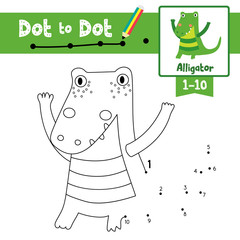 Dot to dot educational game and Coloring book of standing alligator animals for preschool kids activity learning number worksheet. Vector Illustration.