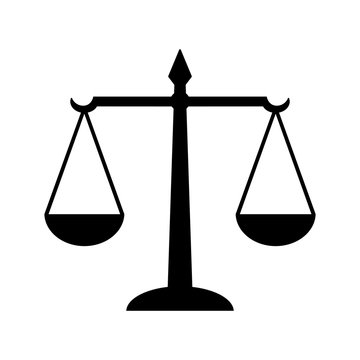 Law scales of justice icon. Symbol of law measuring legal case's support and opposition. Vector Illustration