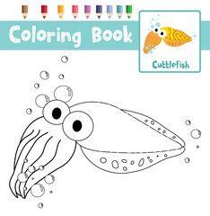 Coloring page of Cuttlefish animals for preschool kids activity educational worksheet. Vector Illustration.