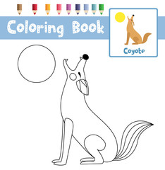 Coloring page of Howling Coyote animals for preschool kids activity educational worksheet. Vector Illustration.