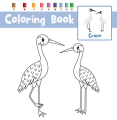 Coloring page of Standing Crane bird animals for preschool kids activity educational worksheet. Vector Illustration.