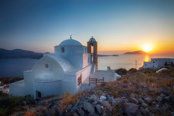 Beautiful Chora church in Ios island at sunset, Cyclades, Greece