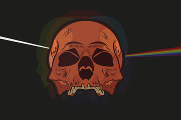 skull.Design drawing. .diffraction.