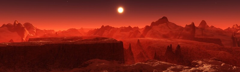 Papiers peints Rouge mauve Panorama of space landscape, alien landscape, 3D rendering