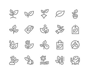 Simple Set of Plants Related Vector Line Icons. Contains such Icons as Leaf on Hand, Growing Conditions, Leafs and more. Editable Stroke. 48x48 Pixel Perfect.